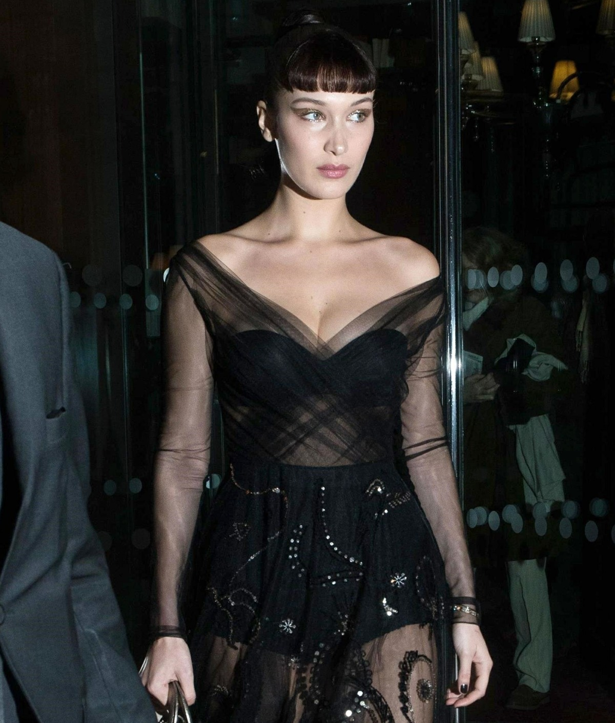 Bella Hadid and Fanny Bourdette-Donon arrive at the Christian Dior afterparty in Paris