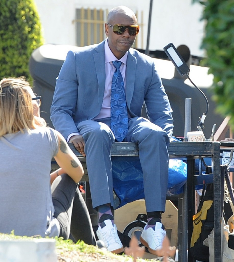 Comedian Dave Chappelle on the set of 'A Star Is Born' filming in downtown Los Angeles