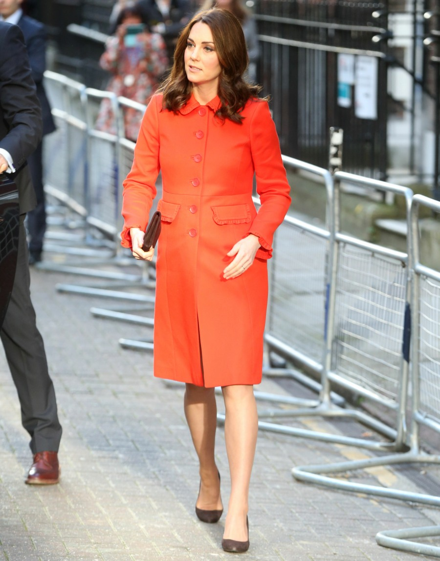 Duchess kate in an orange 220 boden coat in london cute for London boden