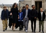 Angelina Jolie with her children at the Louvre in Paris