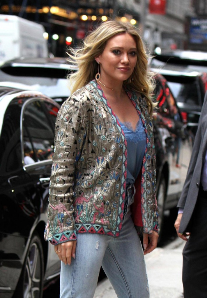 Hilary Duff pictured at the 'Younger' set outside the 'Good Morning America' show in Times Square