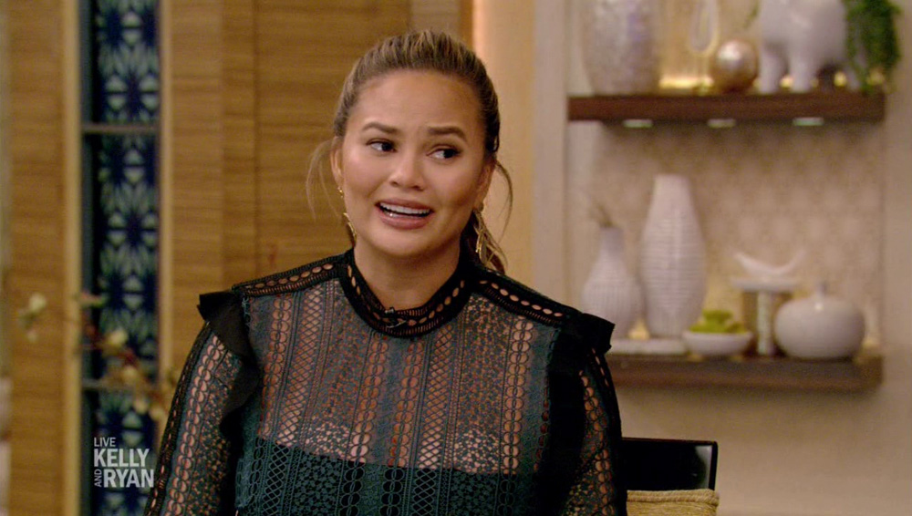 Chrissy Teigen  during an appearance on ABC's 'Live with Kelly and Ryan.'