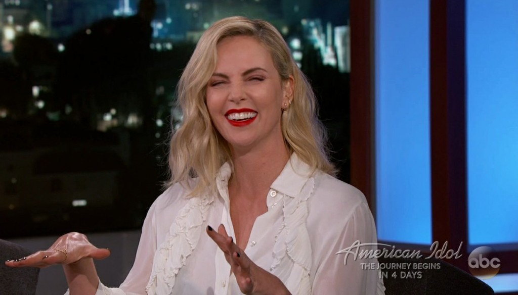 Charlize Theron during an appearance on ABC's Jimmy Kimmel Live!'