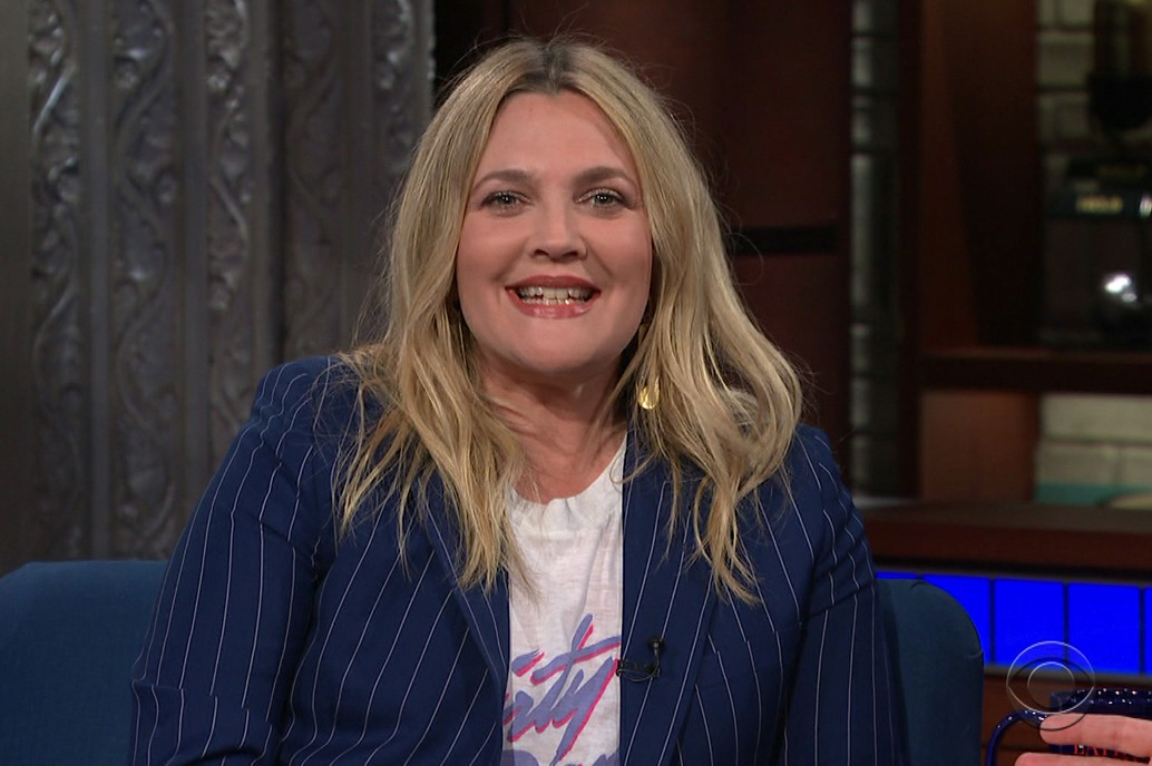 Drew Barrymore during an appearance on CBS' 'The Late Show with Stephen Colbert.'