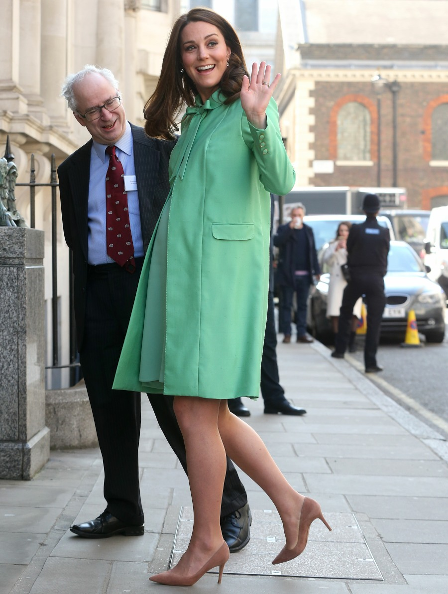 Duchess Kate in a bespoke green Jenny Packham coat: keen for spring?
