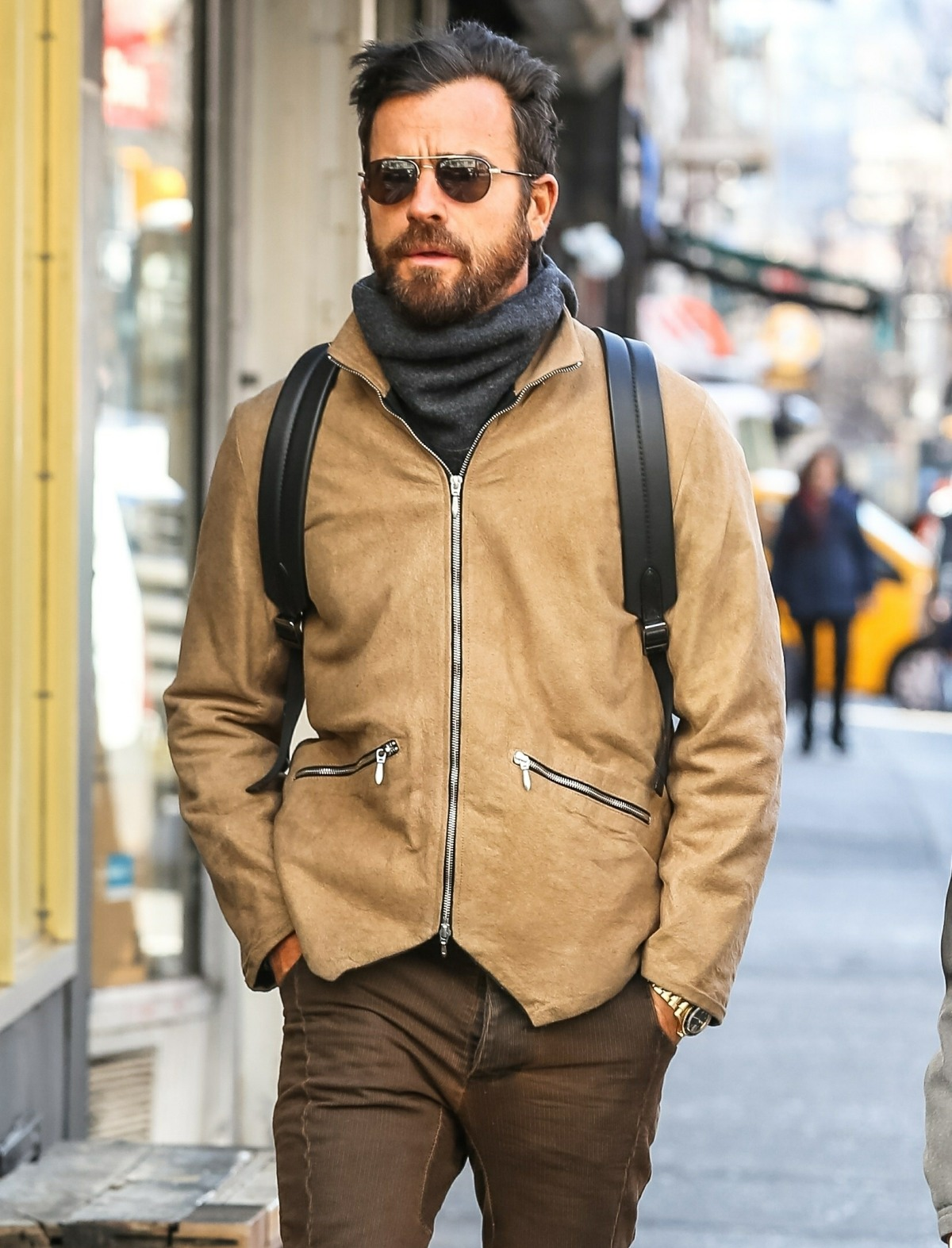 Justin Theroux enjoys a solo walk in the West Village