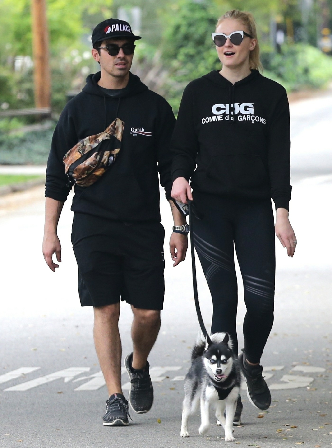 Joe Jonas and Sophie Turner take their dog hiking on their Saturday morning