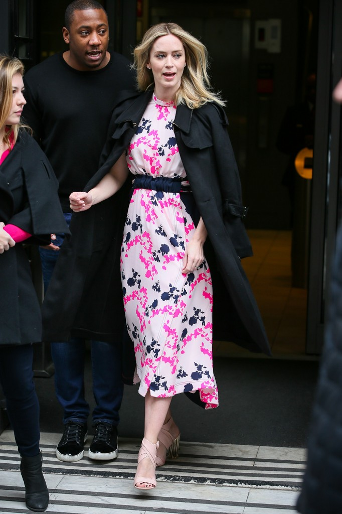 Emily Blunt leaving BBC Radio 2 Radio Studios after promoting her new film 'A Quiet Place' - London