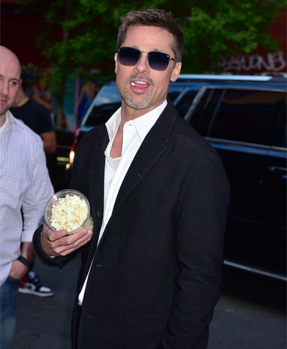 Brad Pitt leaves The Metrograph Theatre after attending a screening of his Netflix movie 'War Machine'