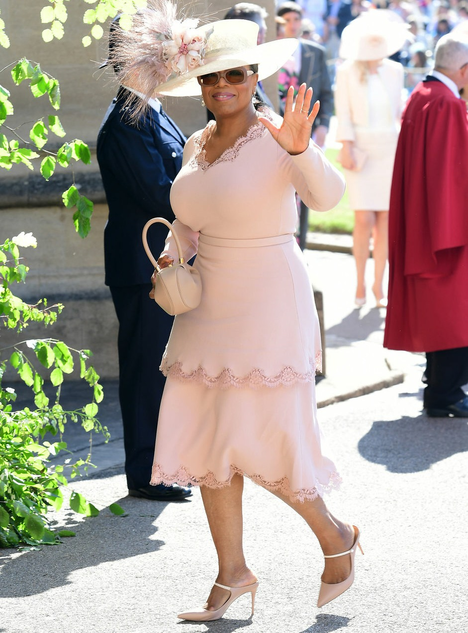 Oprah Winfrey arrives for the royal wedding between Meghan Markle and Prince Harry at Windsor Castle