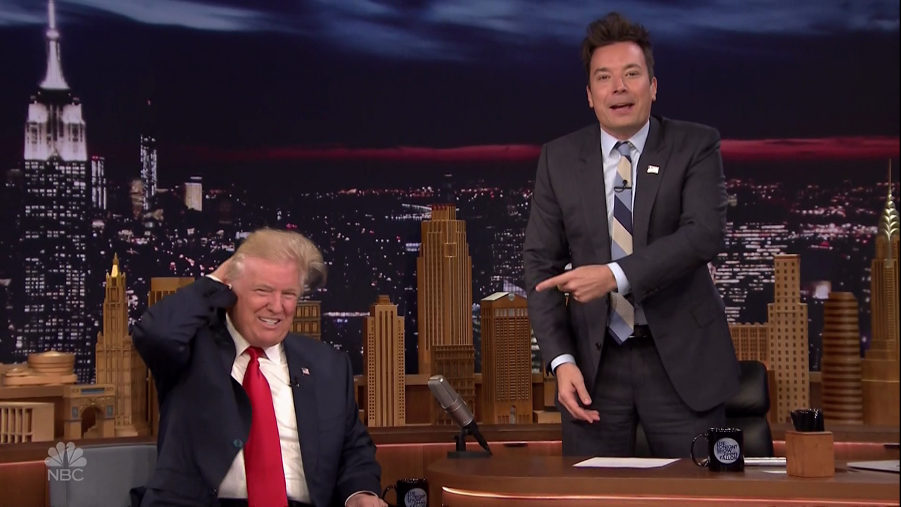 Donald Trump gets his hair messed up on NBC's 'The Tonight Show Starring Jimmy Fallon.'