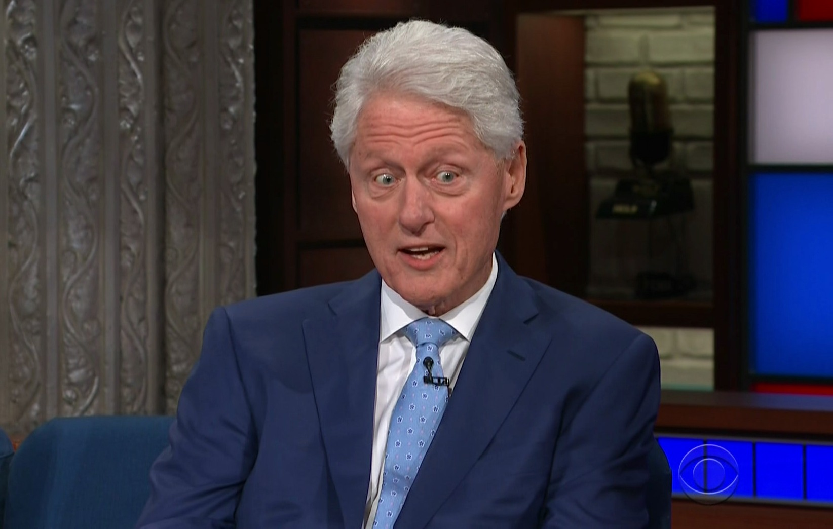 Bill Clinton and James Patterson  during an appearance on CBS' 'The Late Show with Stephen Colbert.'